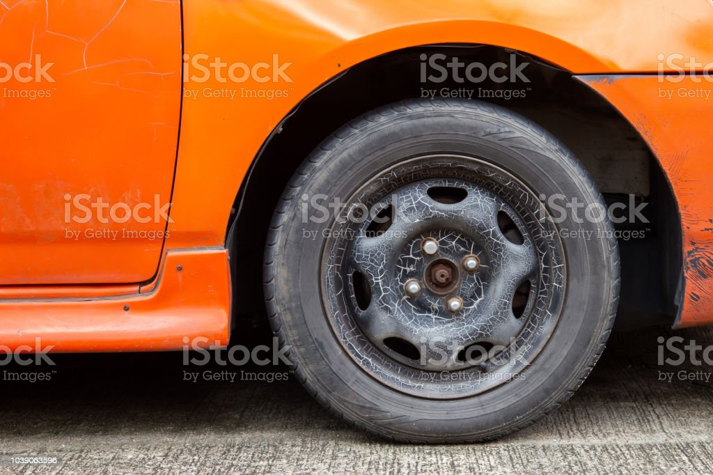 Old Car Wheels And Old Tires It Need To Be Replaced Stock