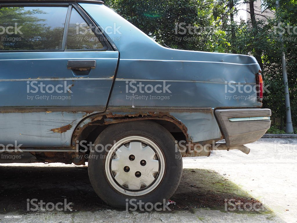 old car with rust on body stock photo