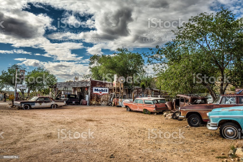 Old Car Wrecks N The Historic Route 66 In Hackberry Arizona Stock ...