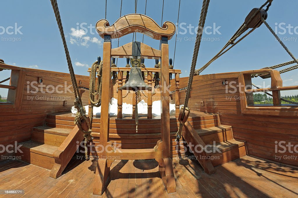 Old Caravel deck stock photo