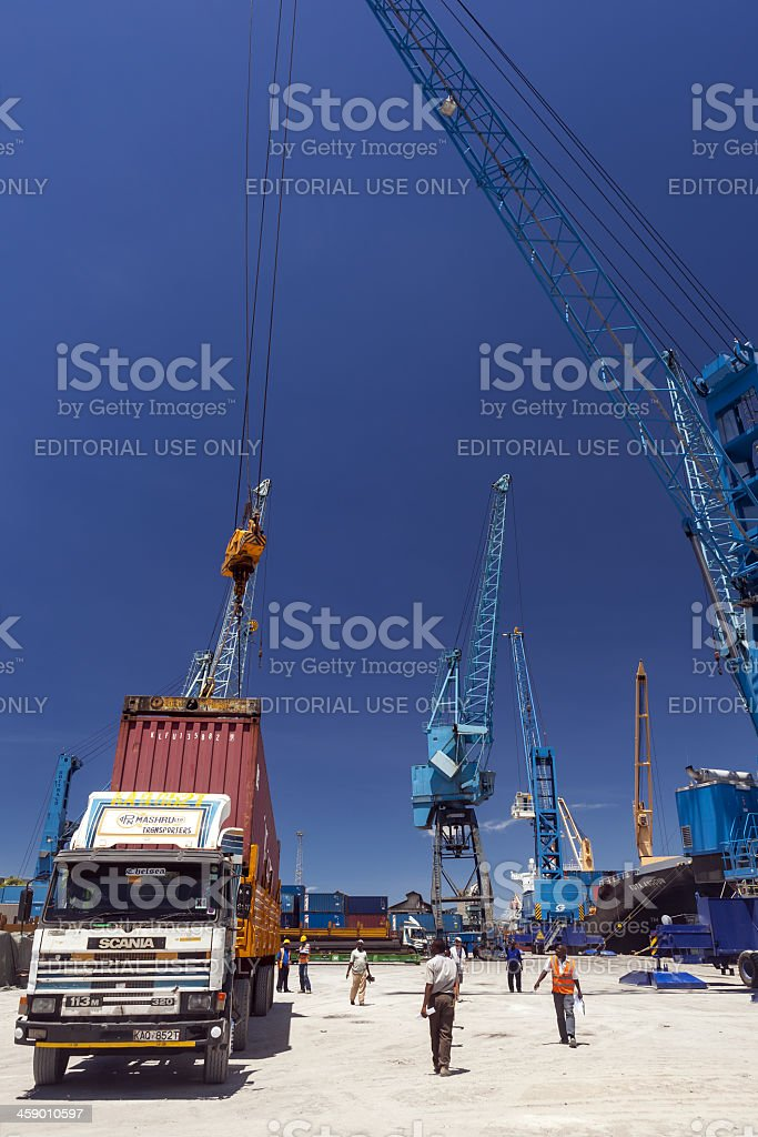 Old Cargo Ship at Mombasa Port in Kenya royalty-free stock photo