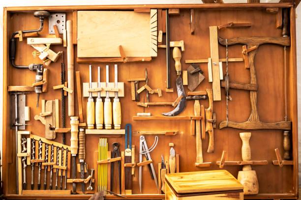 old carpenter hand tools stock photo