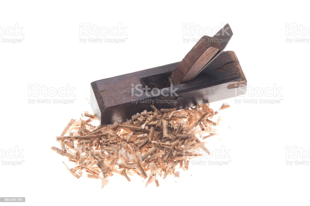 old carpenter plane and wood shavings isolated on white stock photo