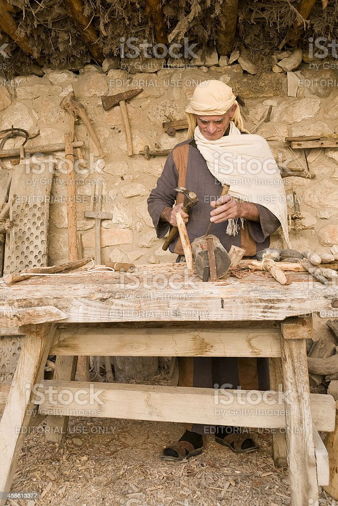 Old Carpenter working royalty-free stock photo
