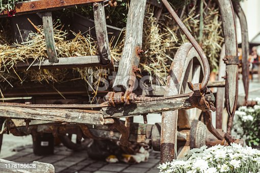 old carriage with rusty wheels, flowers and pumpkins