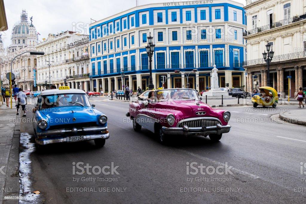 Old Cars along the streest of Havana, Cuba stock photo