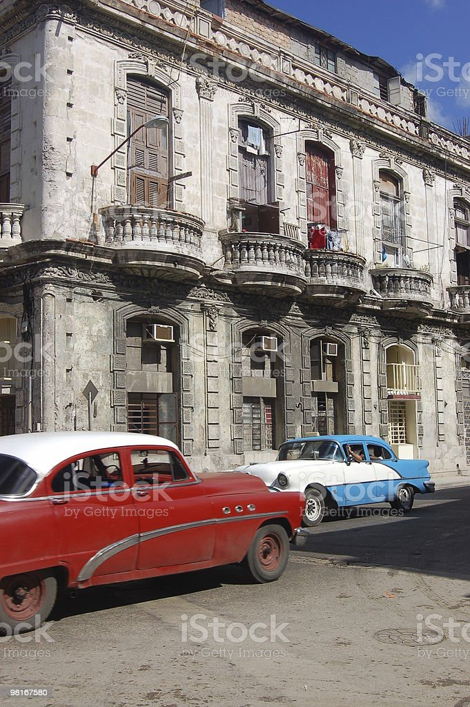 Old Cars in a Havana Street royalty-free stock photo