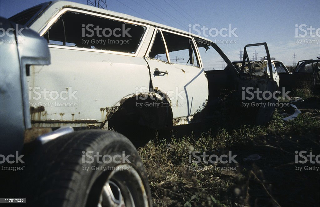 Old cars in breakers yard, Istanbul, Turkey royalty-free stock photo
