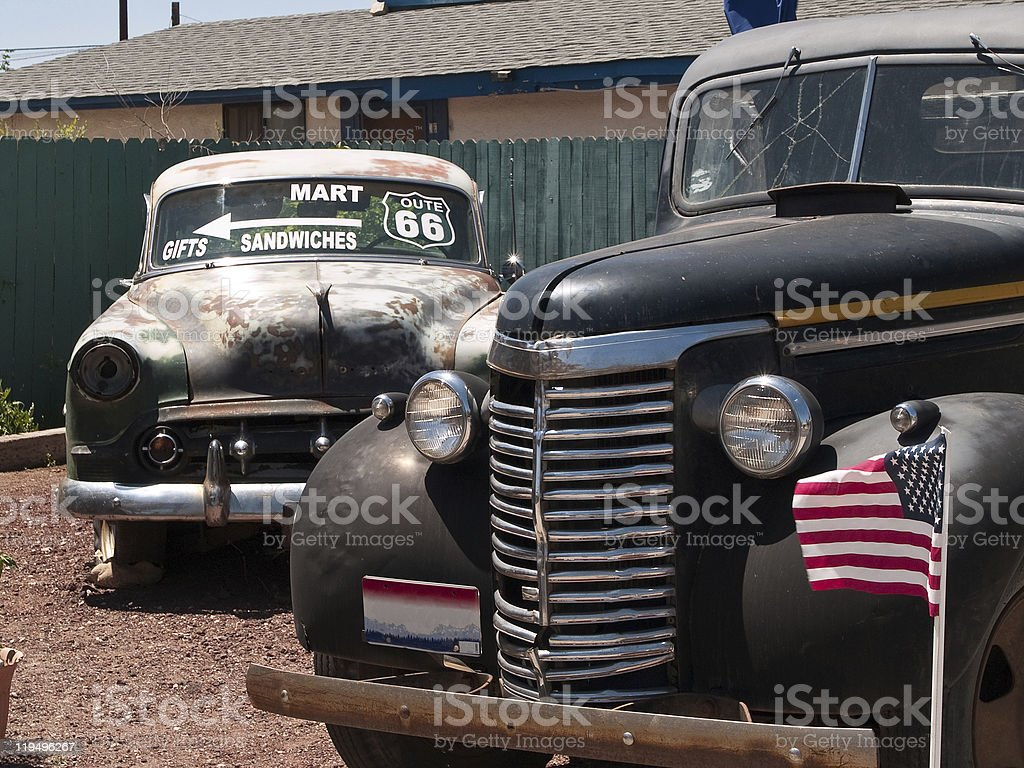 Old cars in the famous route 66 road royalty-free stock photo