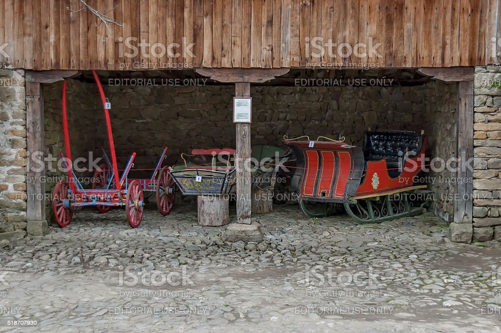 Old cart and sled with horse traction in Etar, Gabrovo stock photo