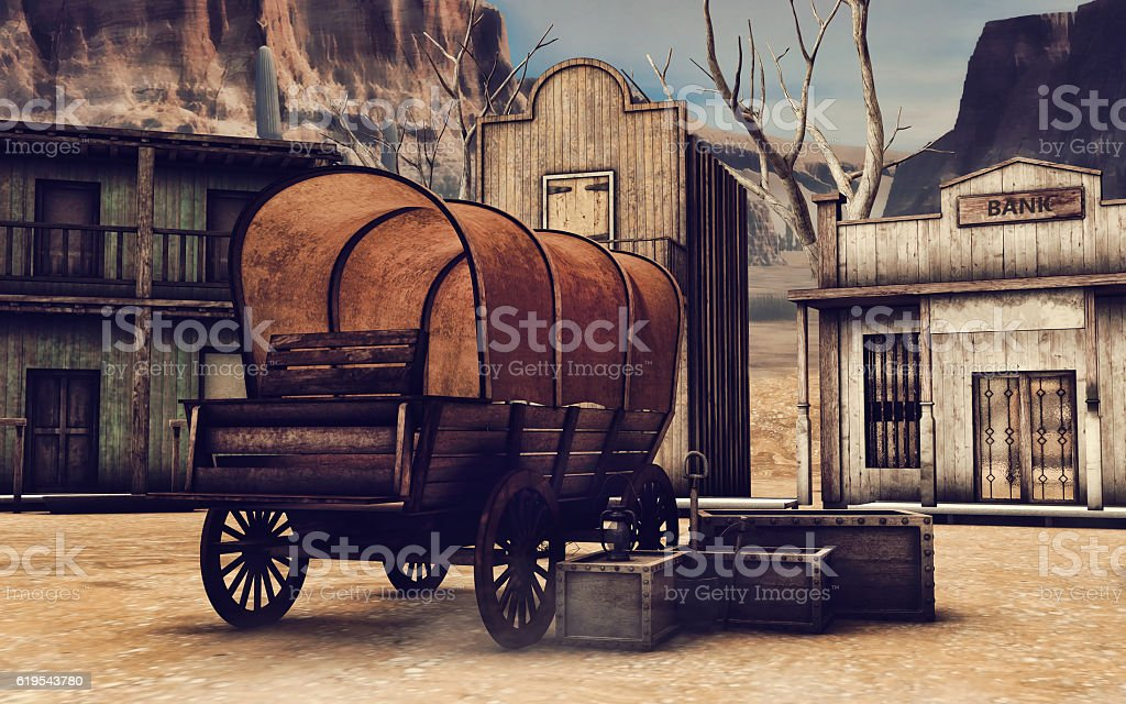 Old cart in a wooden town stock photo