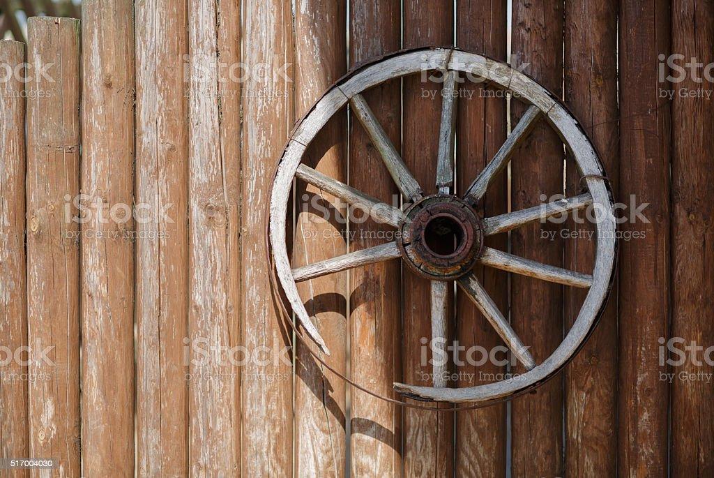Old cart wheel stock photo