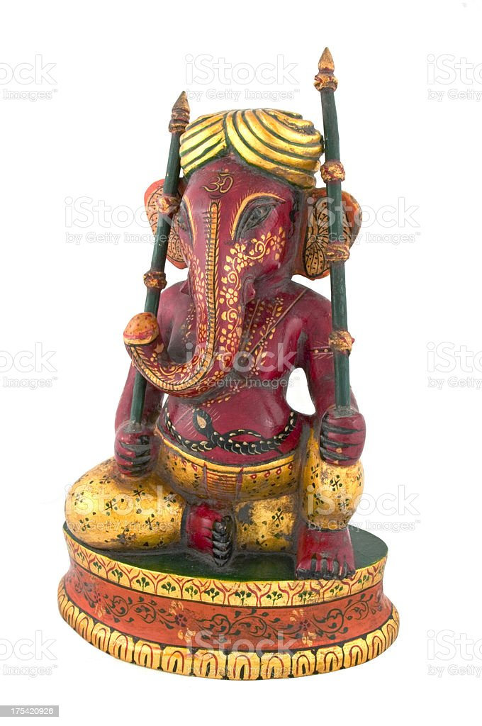 Old Carved and Painted Ganesh Statue from Rajasthan India royalty-free stock photo