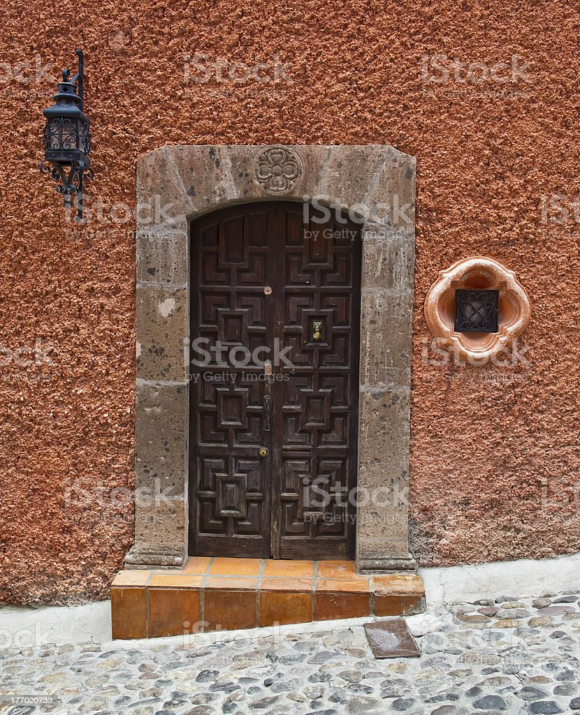 Old Carved Door in Mexico stock photo