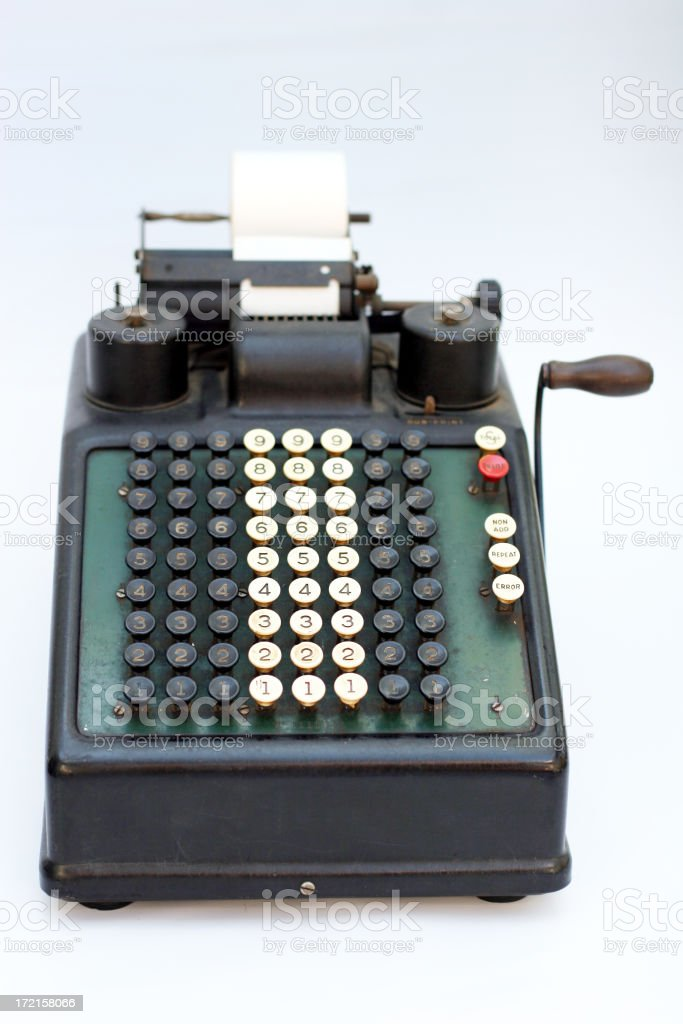 Old cash register 3 stock photo