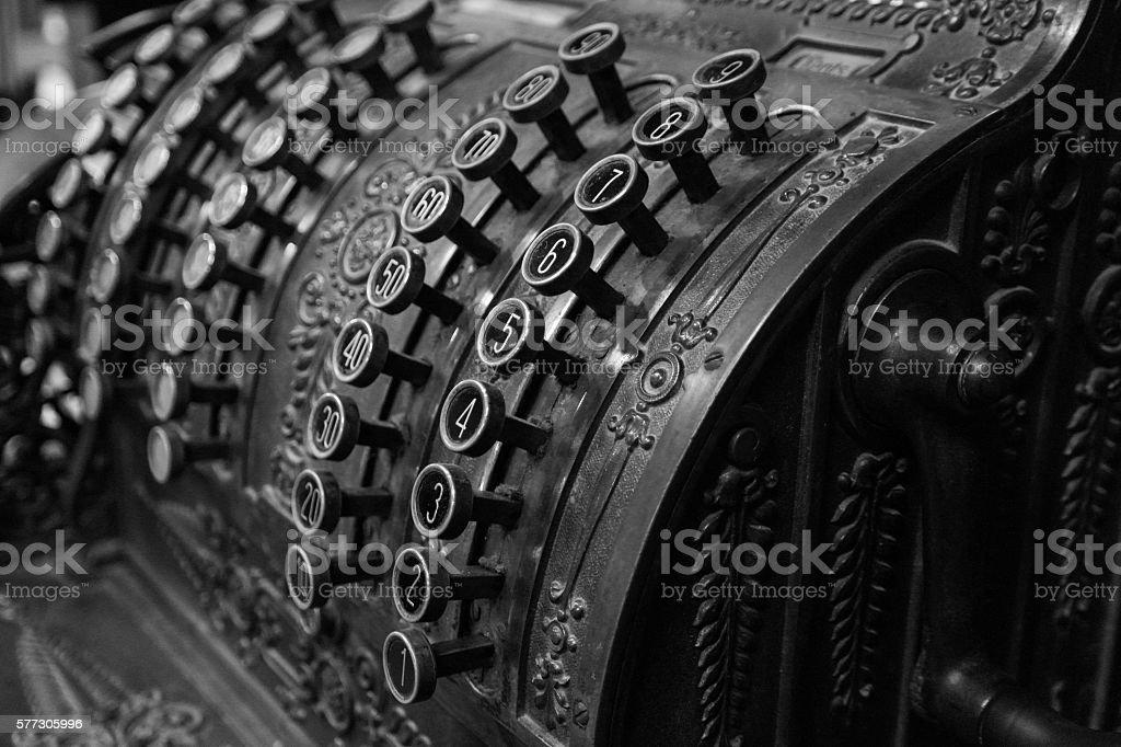 Old Cash Register Black & White - foto de acervo