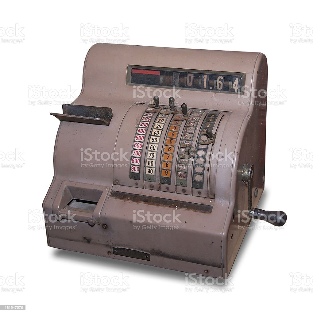 Old cash register isolated on white background royalty-free stock photo