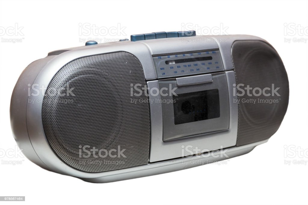 Old cassette Boombox isolated on white stock photo