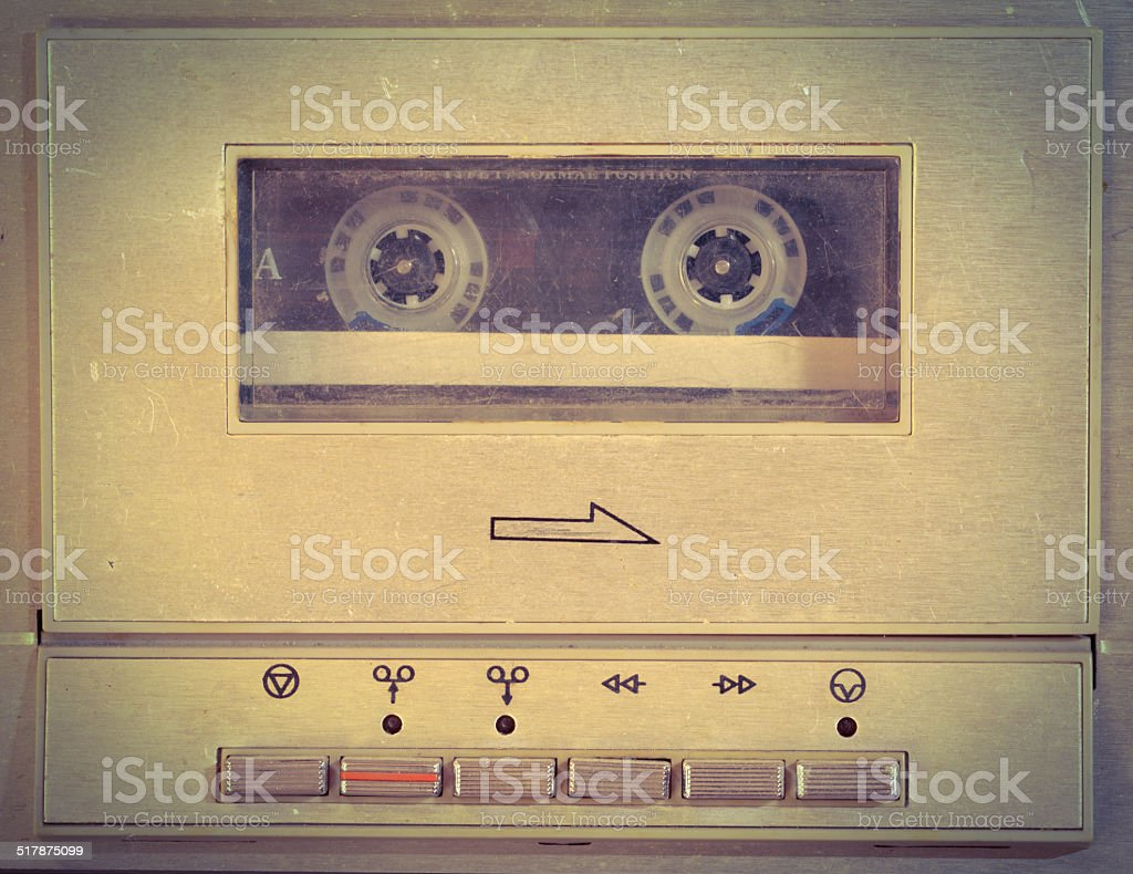 Old cassette player used as background. stock photo