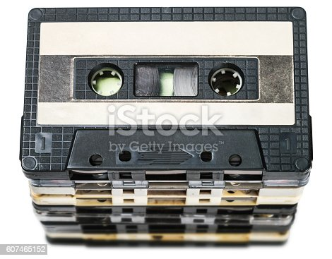 istock Old Cassette tapes isolated on white 607465152