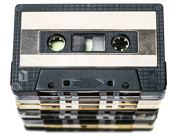 Old Cassette tapes isolated on white stock photo