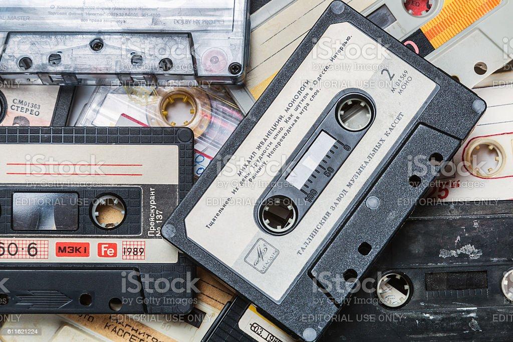 Old Cassette tapes over background – Foto