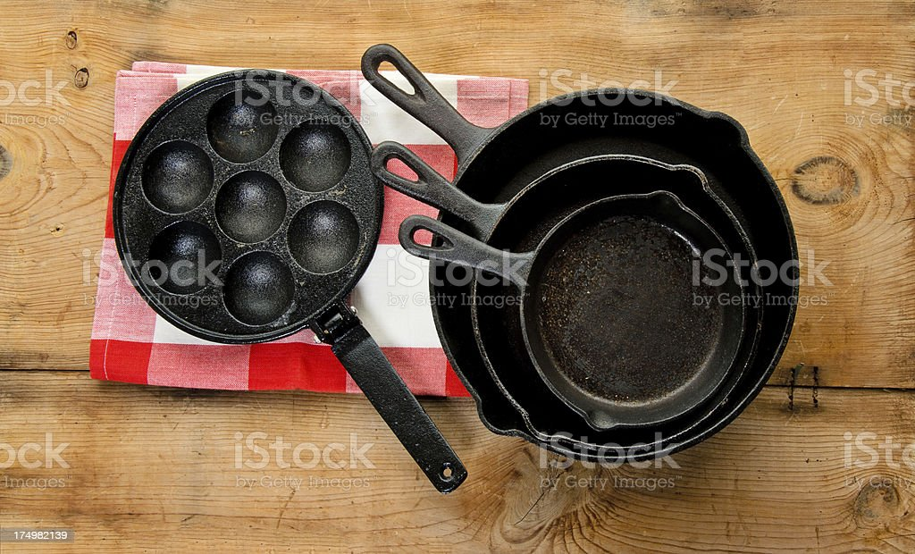 Old Cast Iron Frying Pan, Skillets, Egg Poacher stock photo