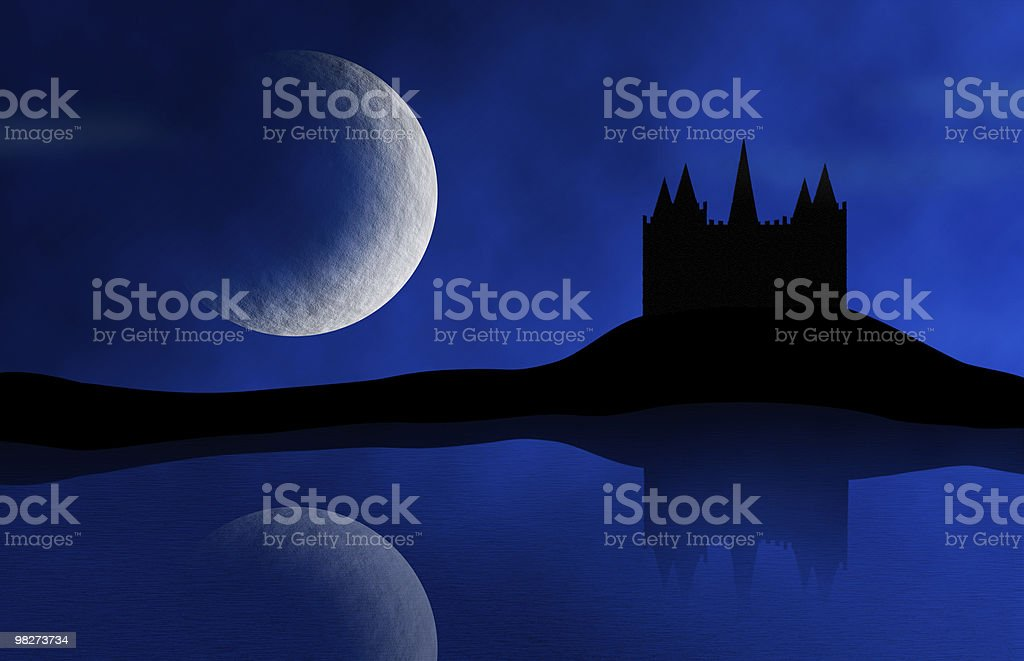 Old Castle and Moon royalty-free stock photo
