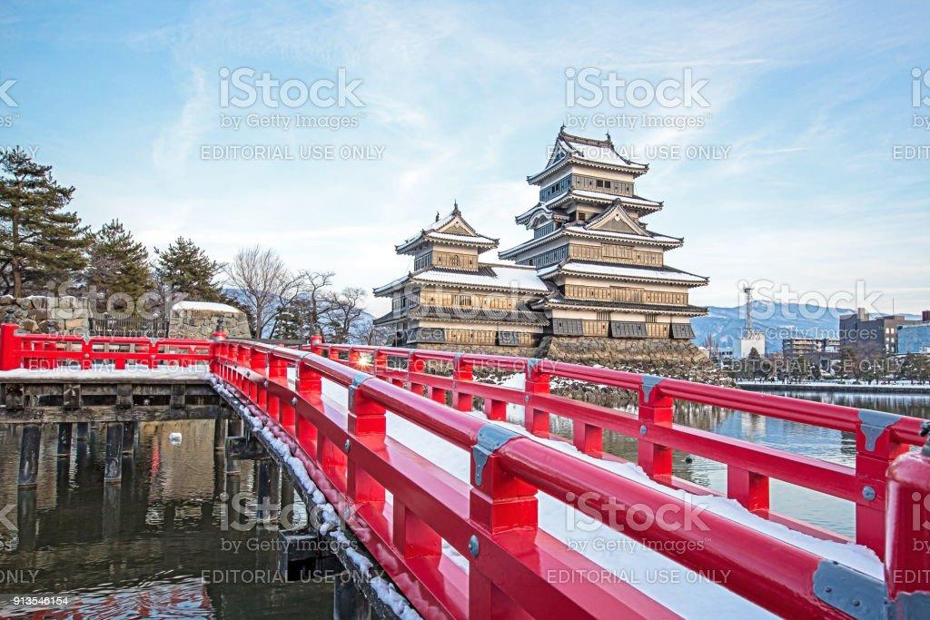 Old castle in japan name Matsumoto castle against blue sky stock photo