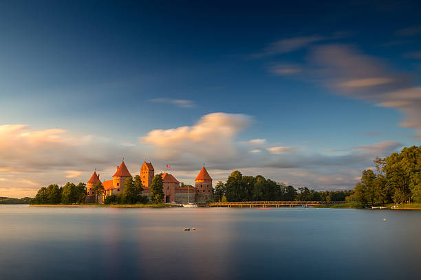 Old castle in sunset time. Trakai, Lithuania, Eastern Europe. stock photo