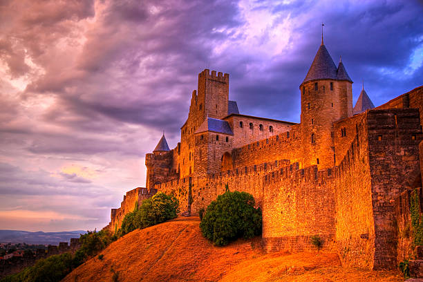Old castle of Carcassonne stock photo