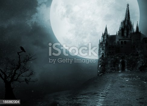 Against the background of a Gothic castle