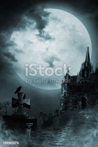 Against the background of a Gothic castle. Good for halloween