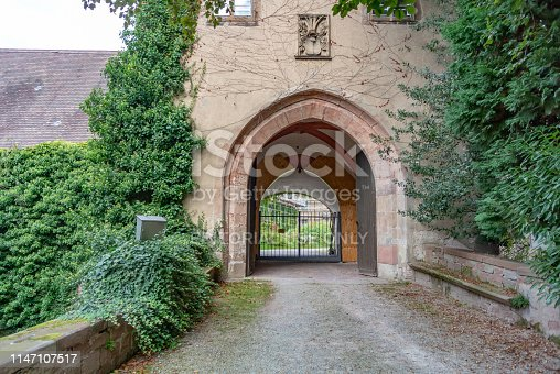 The Gate of Old Castle Ruins in Baden-Baden, Germany