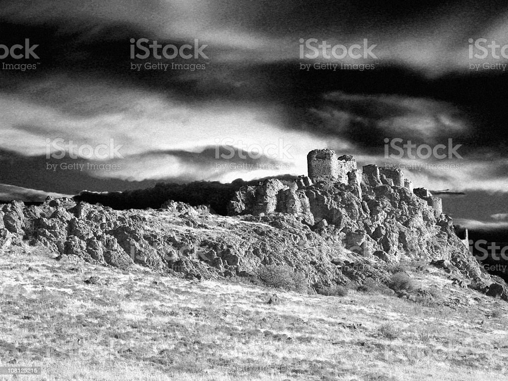 Old Castle Ruins on Cliff, Black and White royalty-free stock photo