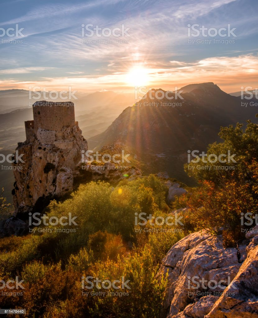 Old Castle staring at Fall's colors stock photo