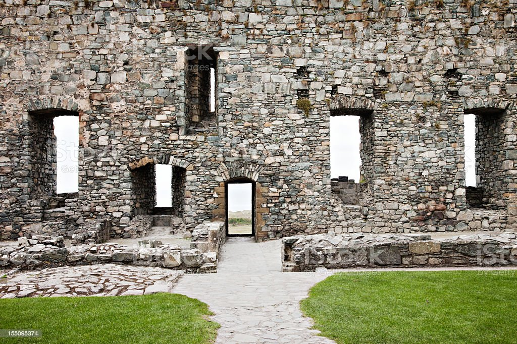 Old Castle Stone Walls with Windows stock photo