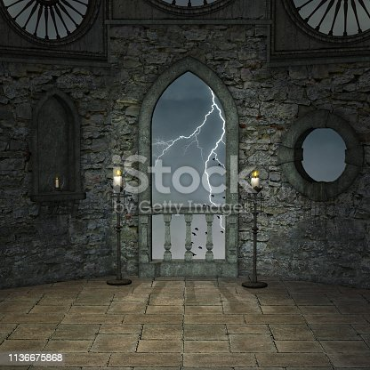 istock Old castle terrace view 1136675868