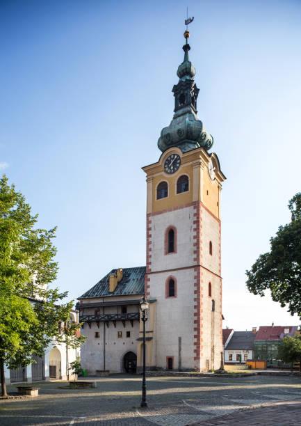 Banska Bystrica, Slowakei - august 07, 2015: alte Burg mit Uhrturm am sonnigen Tag. Barbakane. – Foto