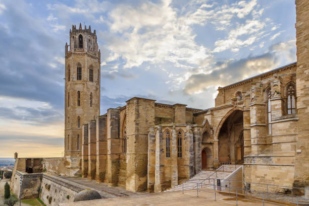 old cathedral of lleida, spain - lleida стоковые фото и изображения