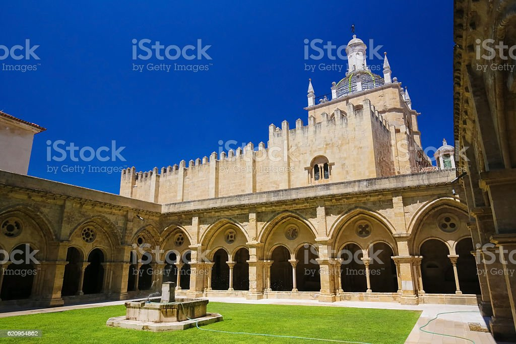 Old Cathedral or Se Velha of Coimbra, Portugal stock photo