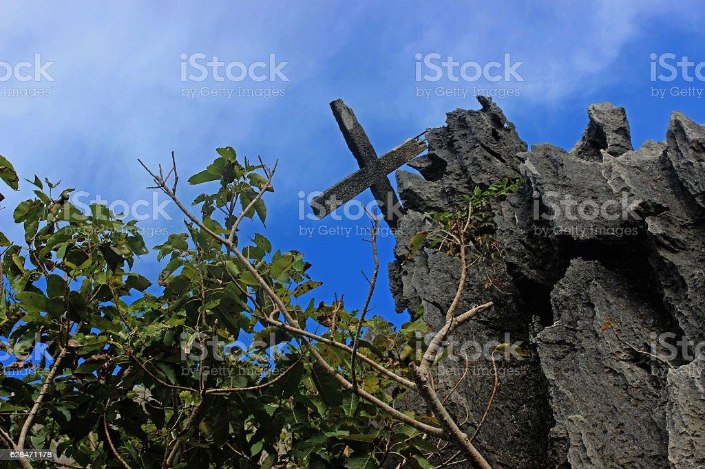 Old Catholic crosses . Philippines. Palawan Island. stock photo
