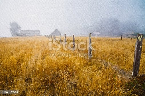 Abandoned old cattle ranch fence oil painting.