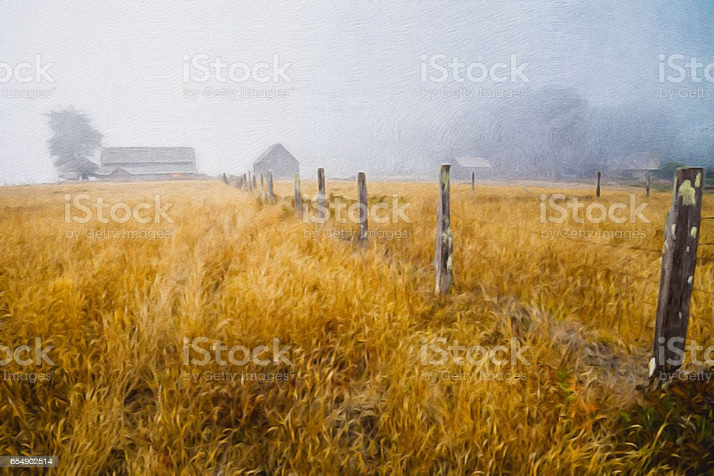 Old cattle ranch oil painting stock photo