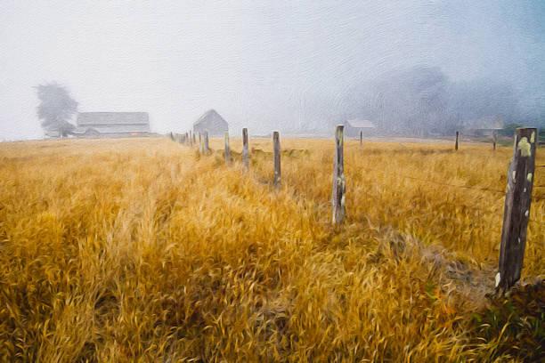 old cattle ranch oil painting - yağlı boya resim stok fotoğraflar ve resimler