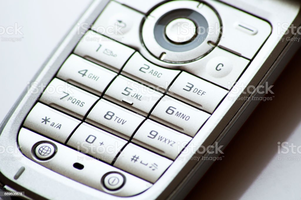 Old Cell Phone Numeric Keyboard Stock Photo - Download Image