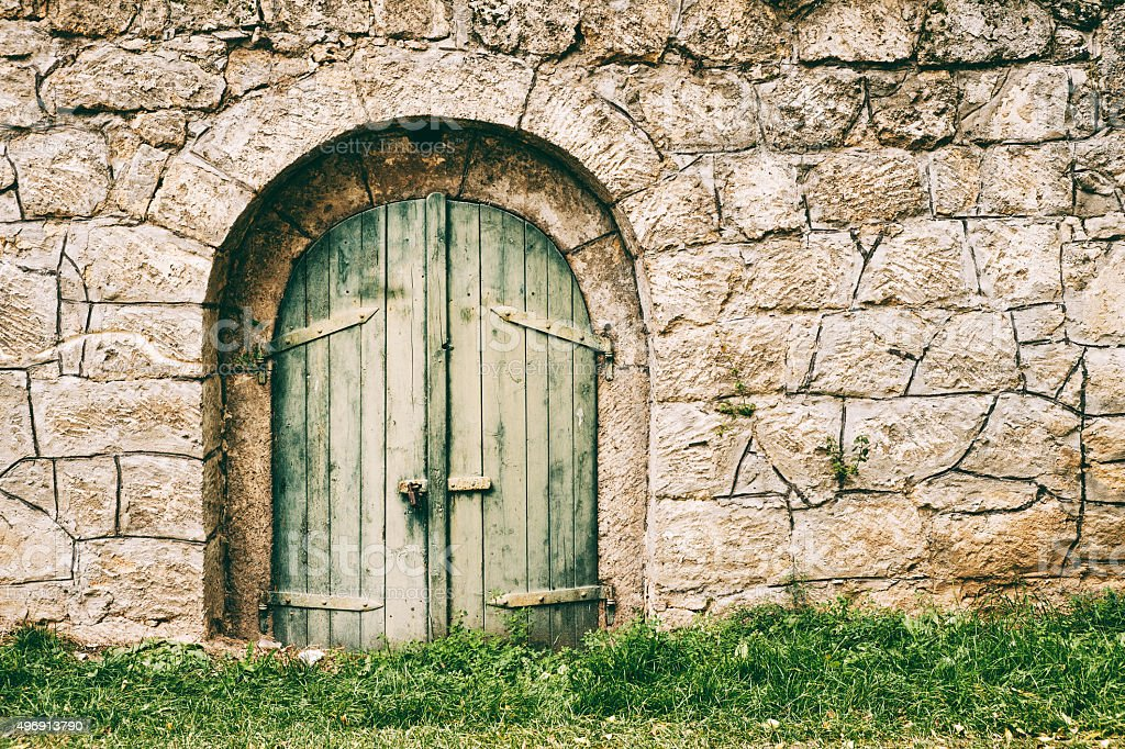 Old cellar door stock photo