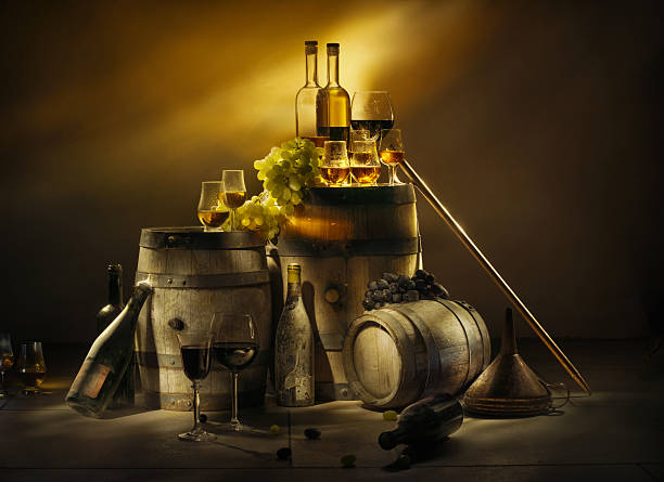Old cellar. Wine, brandy, whiskey, calvados. Old cellar. Wine, brandy, whiskey, calvados. calvados stock pictures, royalty-free photos & images