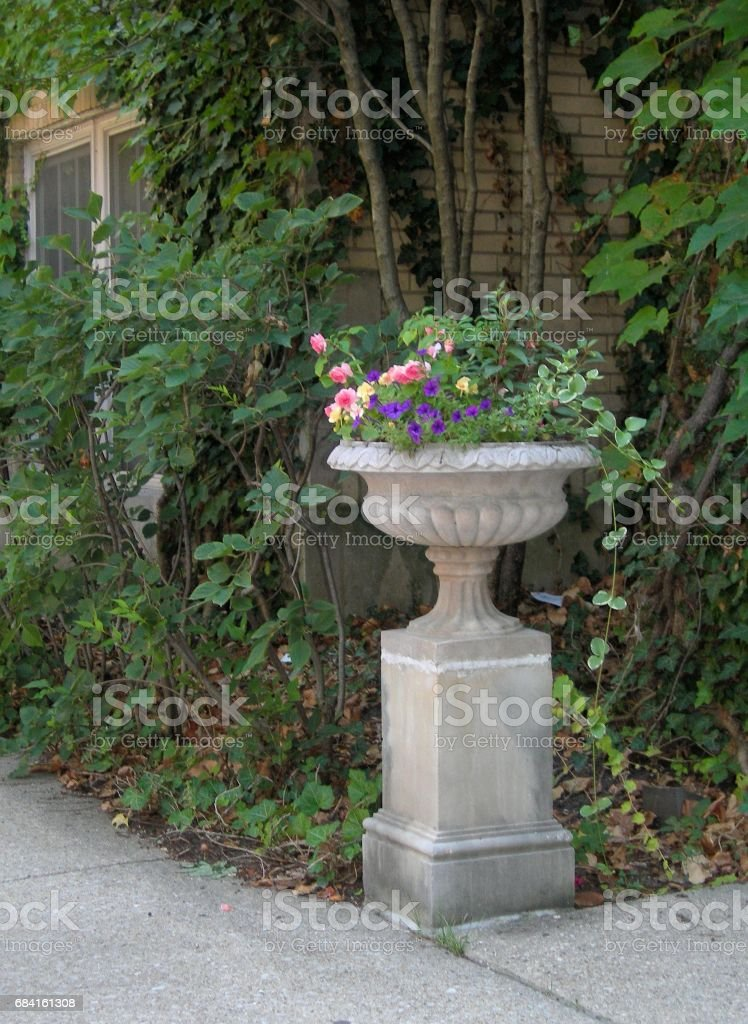 Old Cement Flower Pot royalty-free stock photo