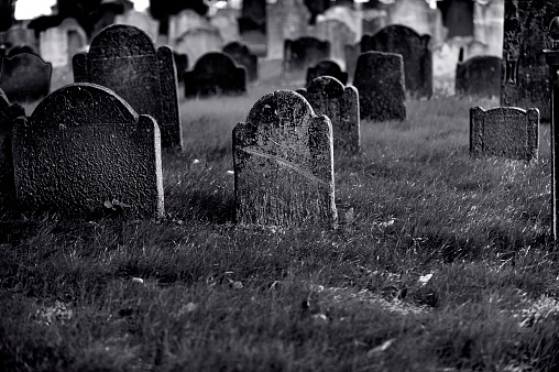 Black and white historic cemetery of downtown Boston